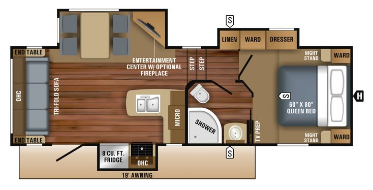 this is the shortest model and I love this layout for living and Kitchen. 2018 Eagle HT Fifth Wheel 24.5CKTS Floorplan
