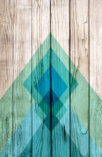 Aztec Tribal Chevron Design On Wood Background Blue Mint