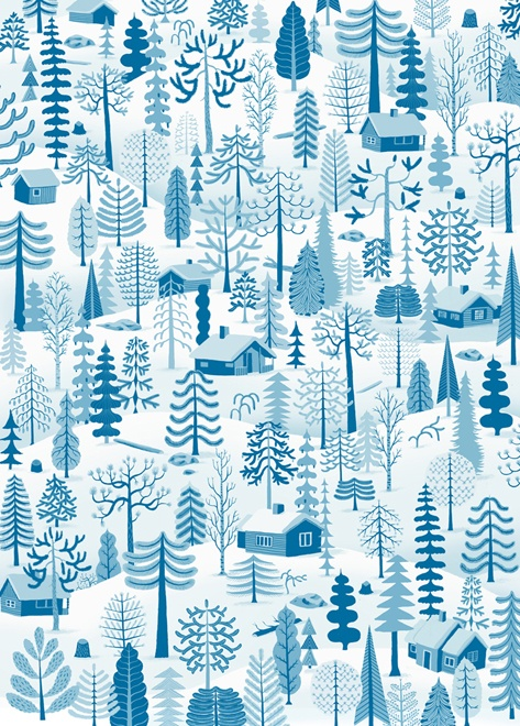 Winter Trees, wrapping paper, Betty and Dupree