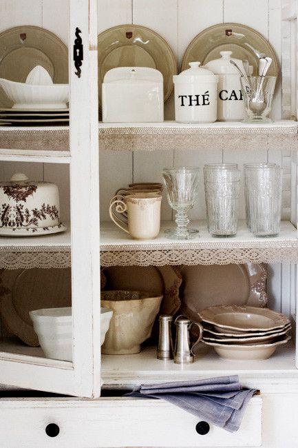 French interiors-kitchen cabinet: Kitchens, Interior, English Homes, Emma English, Dream, House, Lace Trim
