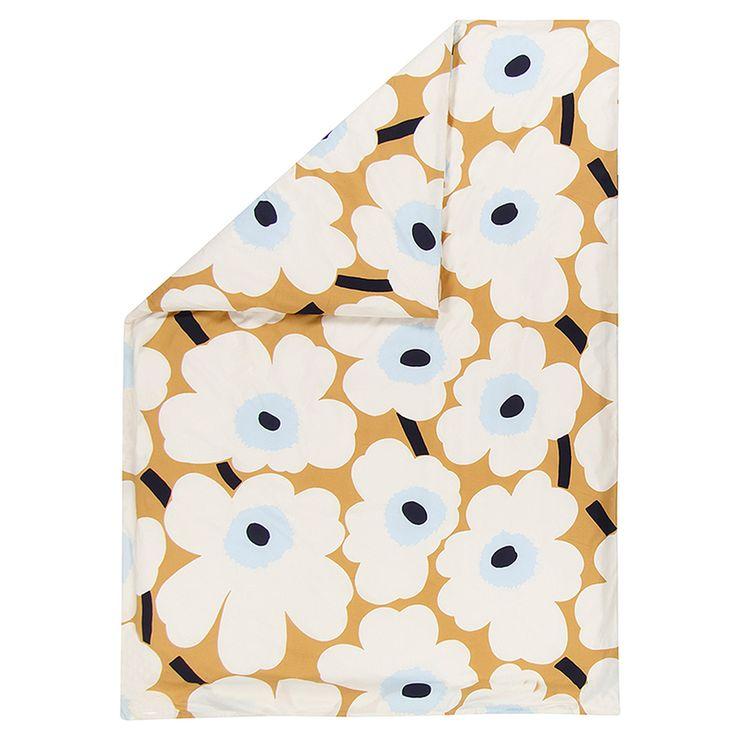 Marimekko's Unikko double duvet cover, beige-off-white-blue