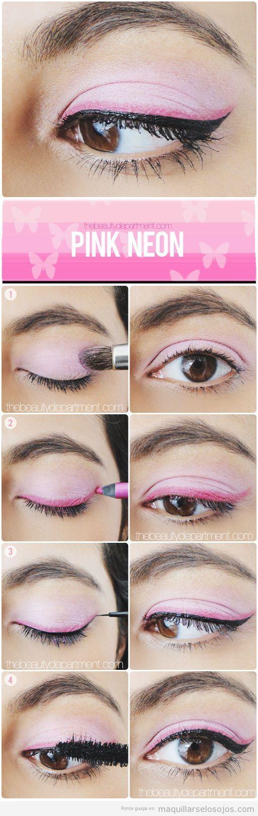 Maquillaje de ojos con eyeliner en rosa neón, tutorial paso a paso
