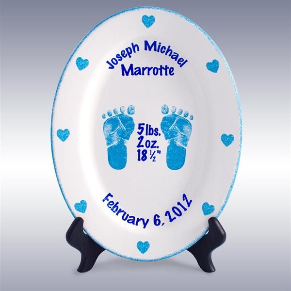 26 best keepsake baby plates images on pinterest baby plates boys personalized 11 porcelain oval birth plates foot prints in time celebrate the negle Images