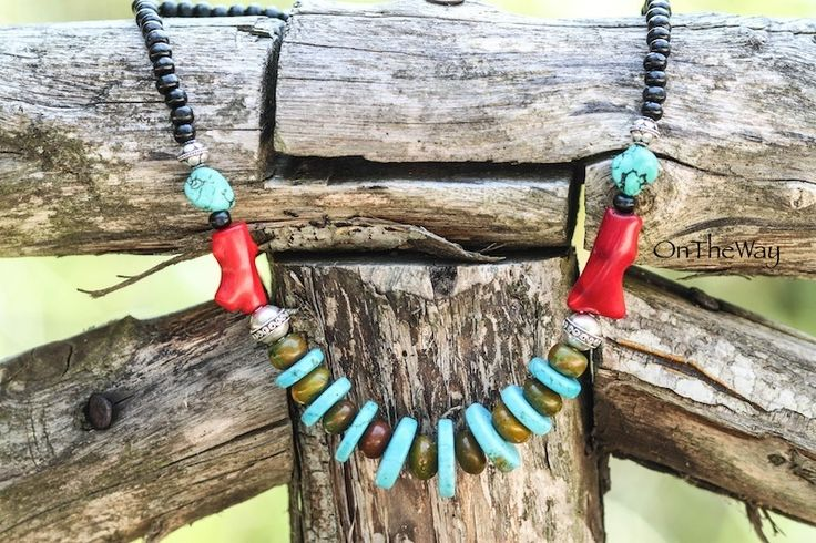 LanguWorld making jewellery.Turquoise and Red Coral with wooden beads.