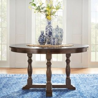 TRIBECCA HOME Flatiron Burnished Dark Oak Finish Round Dining Table | Overstock.com Shopping - The Best Deals on Dining Tables