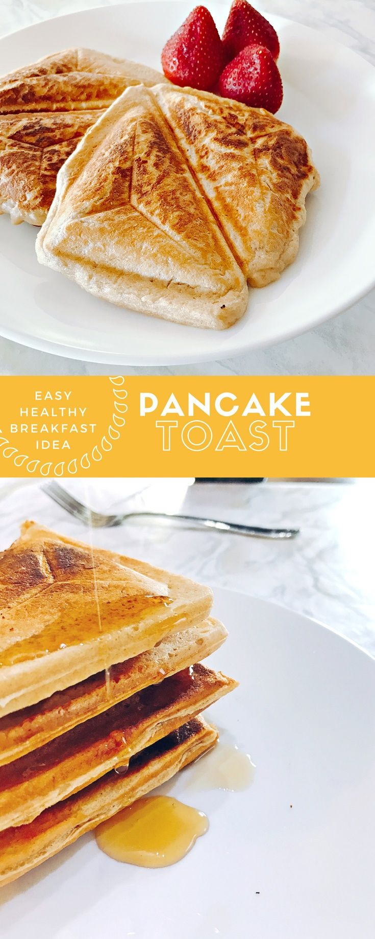 Need a healthy breakfast idea? Look no further than this pancake toast recipe. It is easy, fast, healthy, delicious, and weight loss friendly!