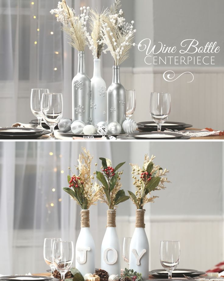 17 best ideas about wine bottle centerpieces on pinterest for Wedding table decorations with wine bottles
