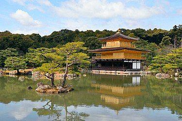 Kinkakuji•••  Temple building covered in gold.