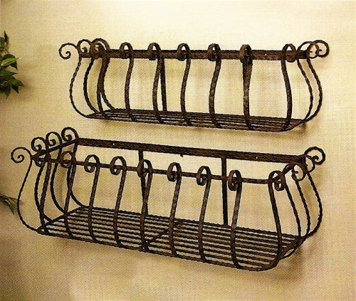 "decorative wrought iron window boxes | Set of 2 Wrought Iron 36"" & 30"" Large Castilian Window Planters"