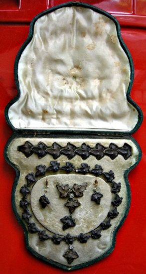 RARE Victorian Mourning Jewelry Set in Original Box - Made of Gutta-Percha Sap. $1,295.00, via Etsy.