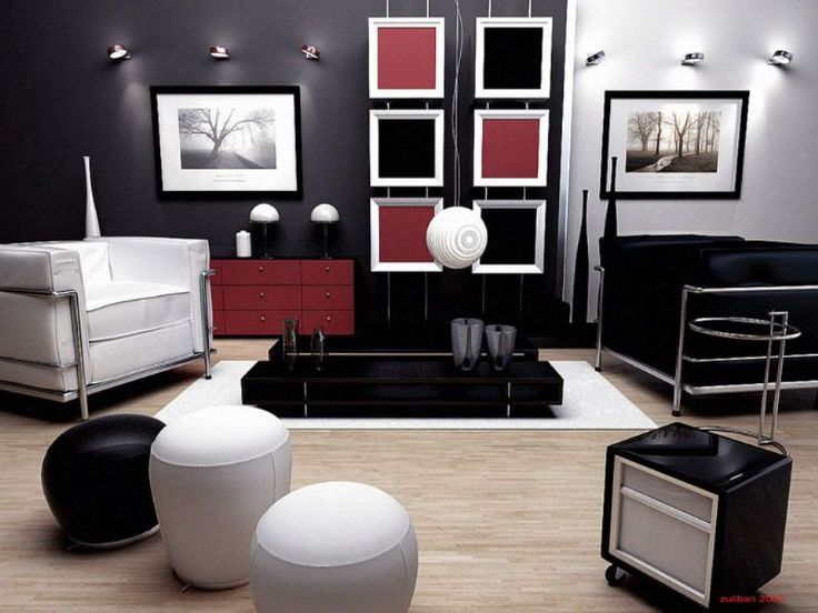 Blac Red Wall With Wood Flooring Modern Home Interior Design