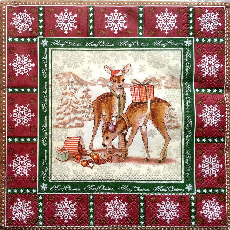 4 Vintage Table Paper Napkins for Decoupage Lunch Decopatch Party Craft Roe Deer