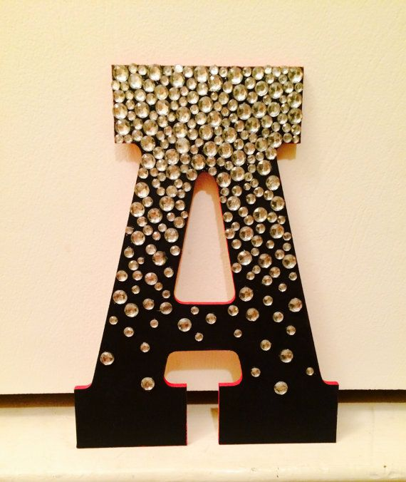 Jeweled wooden letter jewel etsy and crafts for Small wooden letters for crafts