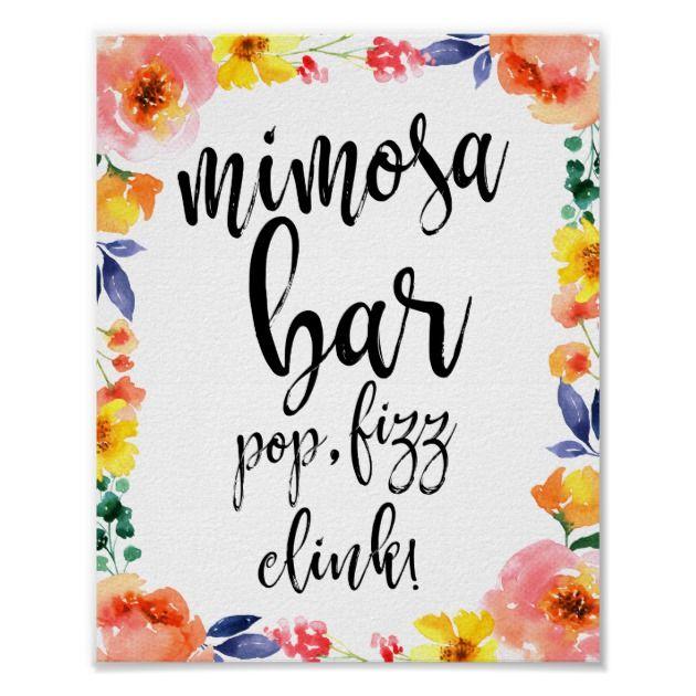 Mimosa Bar Sign for Wedding #GardenWedding #MimosaBarSign #FloralSigns #WeddingSigns #WeddingDecor