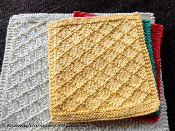 Diamond Brocade knitted dishcloth pattern