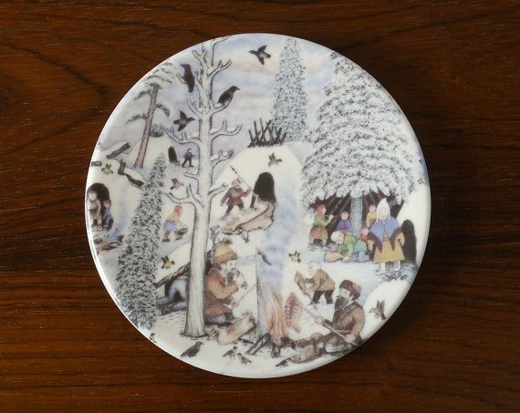 ANDREAS ALARIESTO Pottery Design Plate No.46 1980s ARABIA Finland 'Lapps by a Campfire' Wall Plate