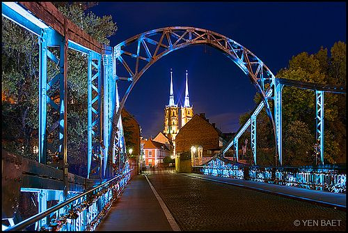 Wroclaw, Poland - Tumski Bridge and the Cathedral of St. John the Baptist  (by Yen Baet)