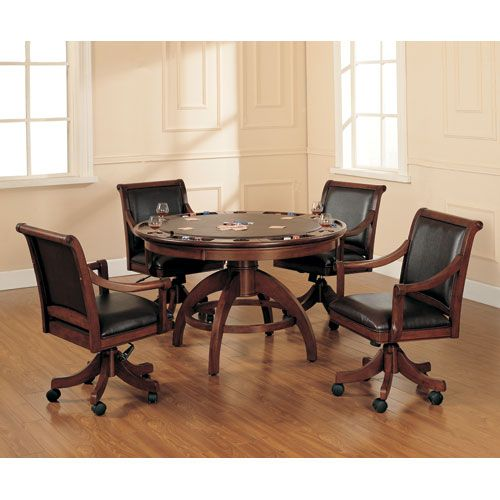 Palm Springs Medium Brown Cherry Game Table and Four Game Chairs
