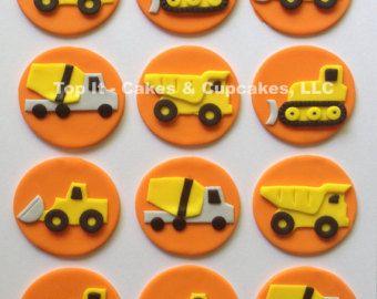 Fondant bulldozer taart topper fondant verkeer door TopCakeDecors
