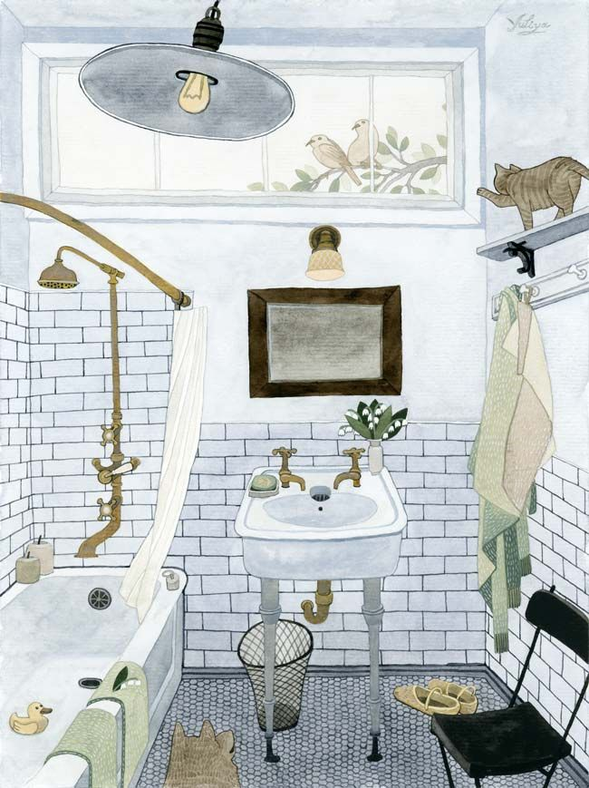 Canadian artist Yuliya's watercolors evoke such a feeling of familiarity and warmness, that I can't help but get lost in each one. I love the somewhat distorted perspective and the complexity in an otherwise simple subject matter.