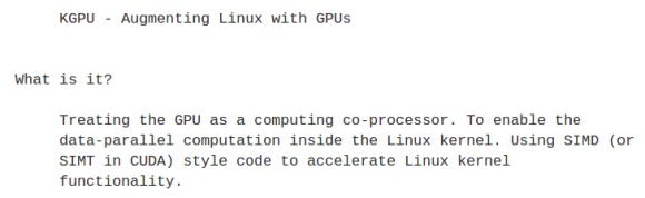 Leverage the GPU to accelerate the Linux Kernel - Requires CUDA 2.0