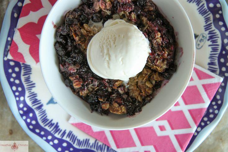 Blueberry Oatmeal Crisp with Bourbon Caramel | Heather Christo