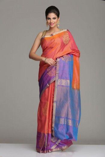 Orange Uppada Silk Saree With Gold Zari Paisley Motifs And Purple & Blue Striped Border & Pallu With Gold Zari Pattern & Motifs