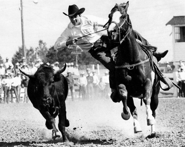 Johnny Crawford competes in steer wrestling at Cheyenne, Wyoming in 1965.