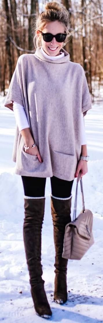 #winter #outfits pink blouse, white top, leggings, long brown boots