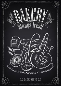 Vintage Bakery Poster. Freehand drawing on the chalkboard: bread and other pastries photo