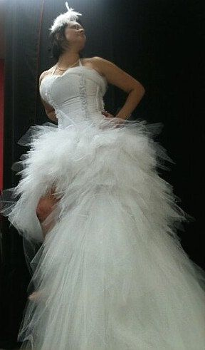 Tutu  Wedding Gown, Short in front long in back  REMOVABLE Train PLUS SIZE too. $2,900.00, via Etsy.