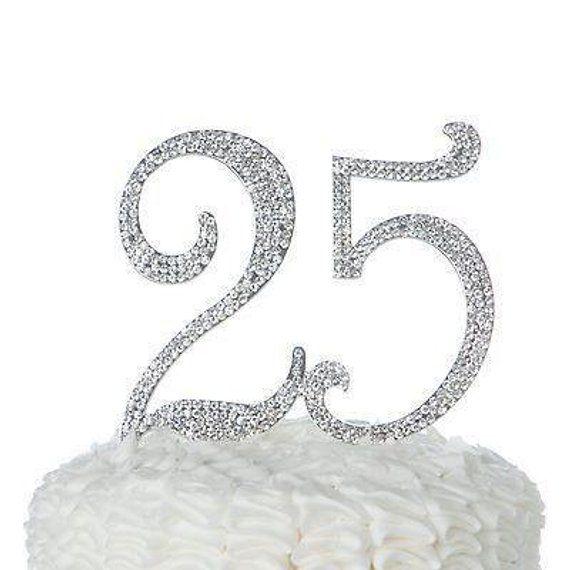 Crystal Rhinestone Sweet 18th Anniversary Birthday Party Cake Topper Silver