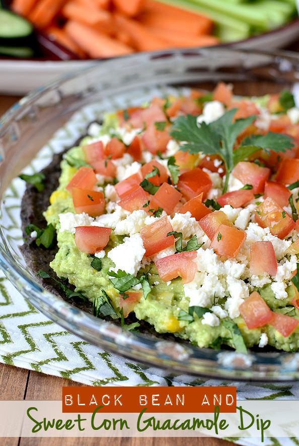 Black bean and sweet corn guacamole dip appetizer.