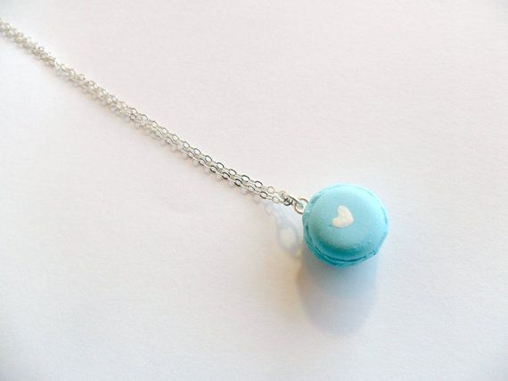 Macaron Sterling Silver Necklace Kitsch Tiny pastel Macaroon