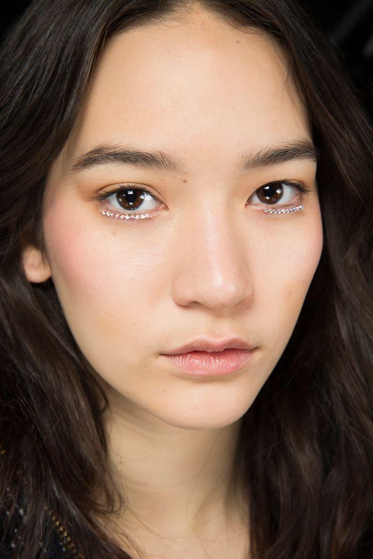 zooeymglass: Mona Matsuoka backstage at Rodarte Fall 2015 // makeup with gems