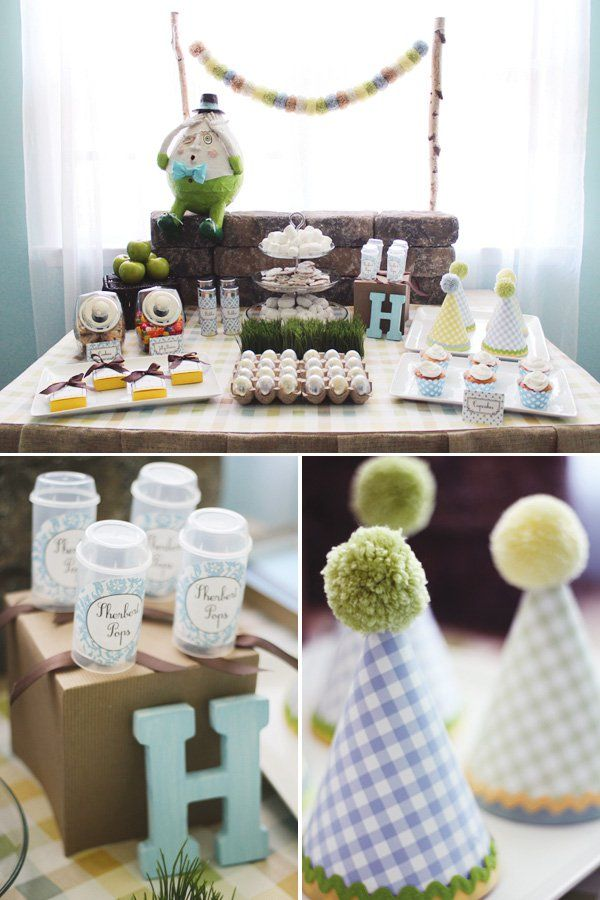 Nursery rhyme inspired humpty dumpty dessert table for Baby shower modern decoration
