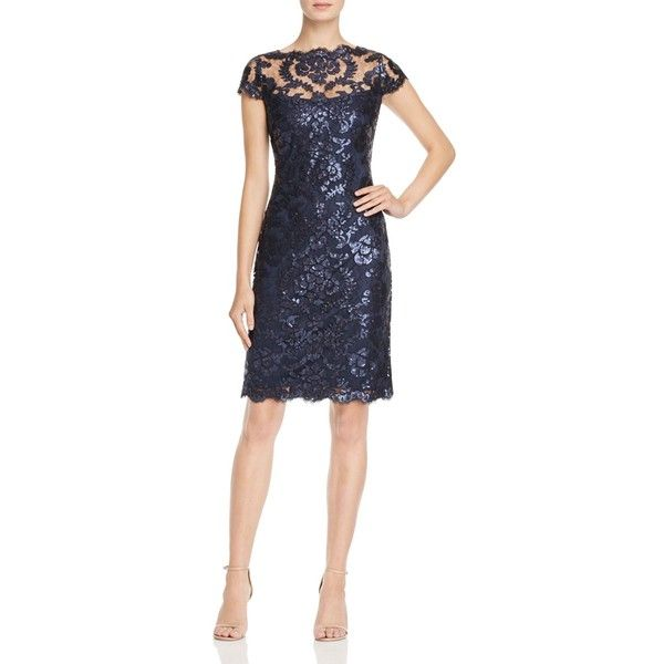 Tadashi Shoji Cap Sleeve Sequin Embroidered Dress ($328) ❤ liked on Polyvore featuring dresses, navy, embroidered cocktail dress, navy sequin dress, tadashi shoji, navy cocktail dresses and navy blue sequin dress