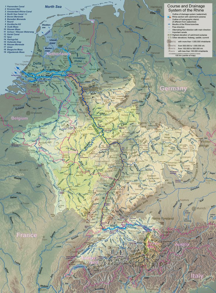This map shows the course and drainage of the Rhine (Rhein) River.