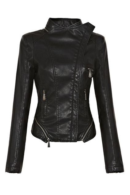 Zipped Hem Asymmetric Biker Jacket by: Oasap