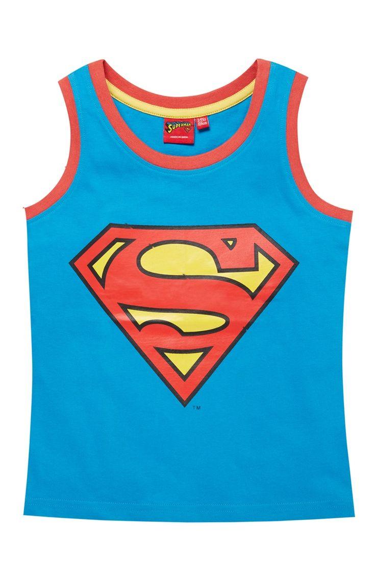 Primark - Top sem mangas logótipo Superman azul