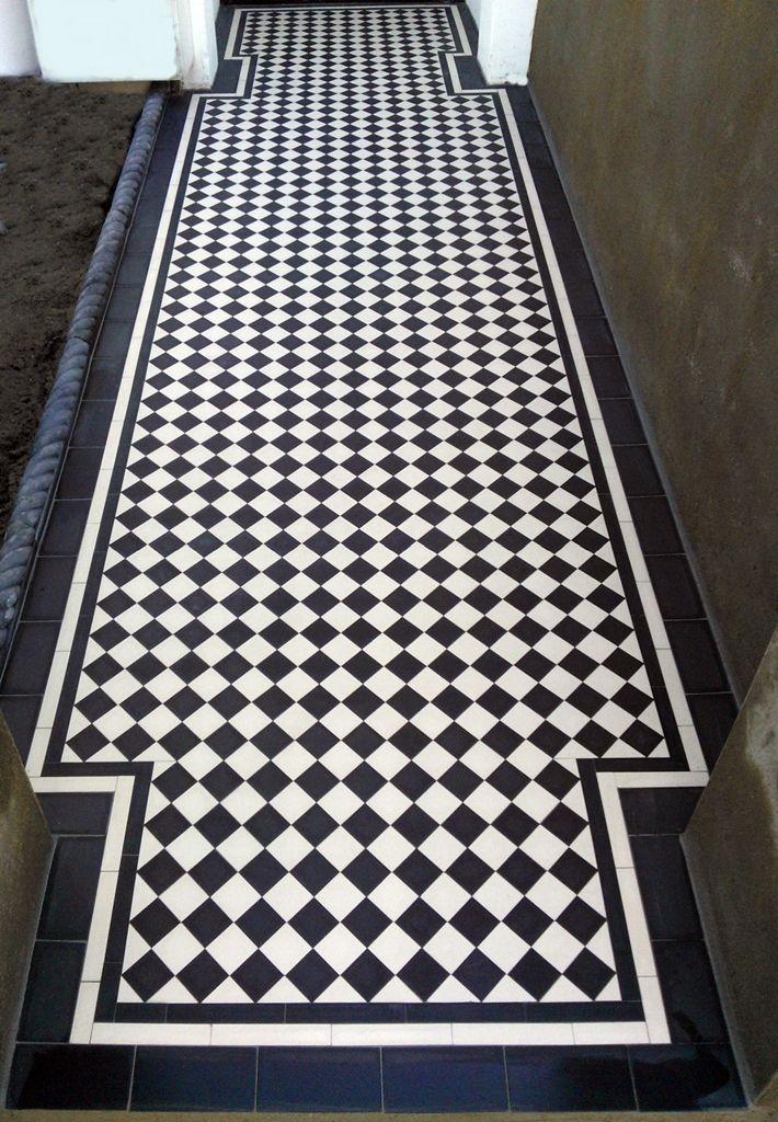 victorian black and white chequer board mosaic tile garden path London