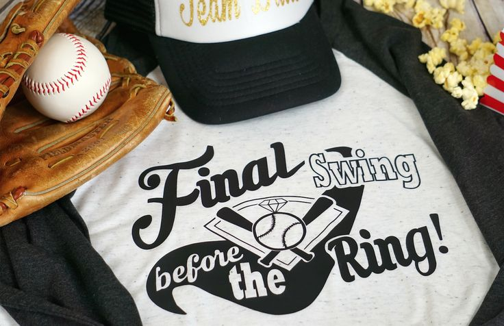 Final swing before the ring! Baseball themed bachelorette party shirt.