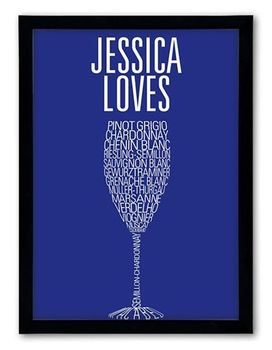 White wine – a favourite summer tipple personalised with two lines of text for a wine buff, all with your favourite grape varieties  http://www.chatterboxwalls.co.uk/details.php?product=12