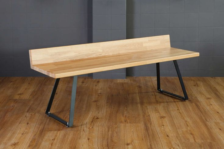 Fu.Mod.Ben.1   d.Mod   Bench Three-seater bench with steel legs and wooden seat from oak or plywood.