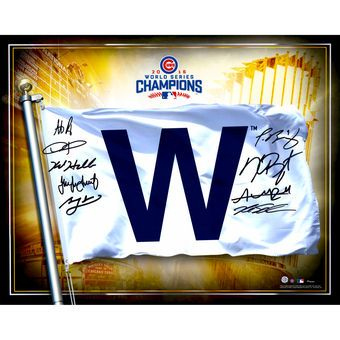 "Chicago Cubs Fanatics Authentic 2016 MLB World Series Champions Autographed 16 x 20"" W Flag Photograph with 9 Signatures"
