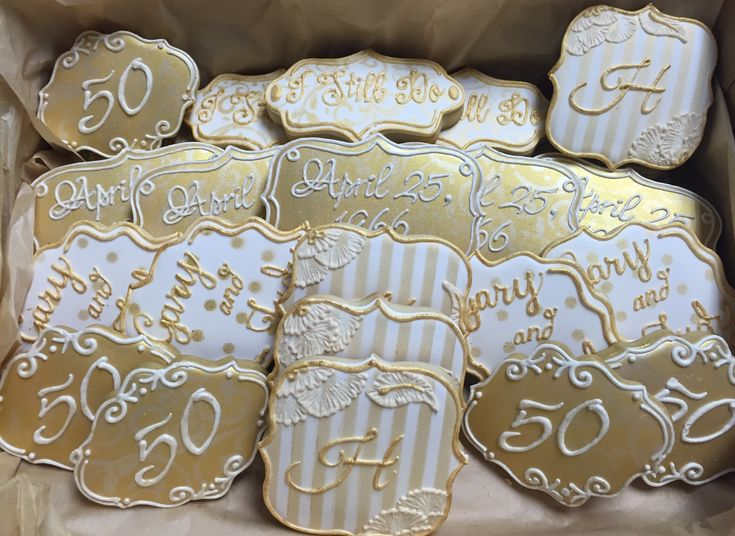 Gold Wedding Anniversary Gift Ideas: 50th Wedding Anniversary Cookies In Cream & Gold
