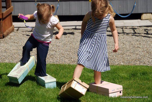 It was a beautiful day around here, and so I looked out for a unique outdoor activity.  These big foot races were a lot of fun for the girls.  All you do is take shoe boxes and cut holes big enough so your kids can slip their feet in.  Then, you tape the lid to the box, have the kids put them on and race.  I love the idea of… {Read More}