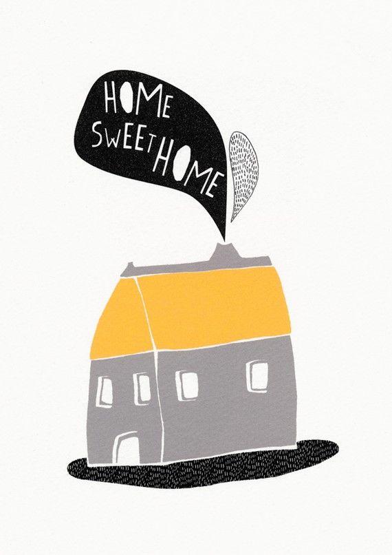Home sweet home - illustration print from etsy shop @KikiMood