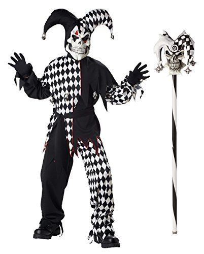 California Costumes Boys Evil Jester Costume with Jester Cane BlackWhite Large *** Visit the image link more details. (Note:Amazon affiliate link)