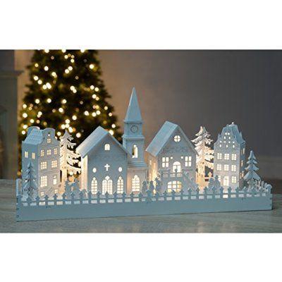 WeRChristmas Große beleuchtete Dekofigur aus Holz, Weihnachtsdorf mit 4 Häusern und Kirche, mit warmweißen LEDs, Weiß